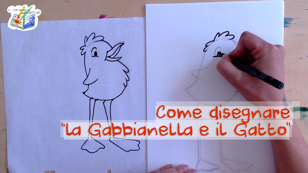 come disegnare la Gabbianella e il Gatto