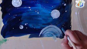 Luci e stelle con la pittura bianca